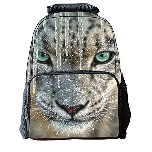 Skymoon Children's 3D Animal School Backpacks (16 Inch,Snow Leopard) -