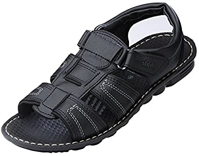 3d37c034e VKC Pride Men's Black Synthetic Leather Sandal: Buy Online at Low ...