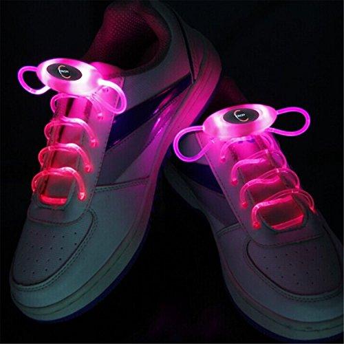 WELSUN Lumineux Red LED Lacets Néon Pink Bâton Clignotant Glow Lueur Sport Couleur Chaussures 80cm Lacets Paire 1 Lacets rqPfra