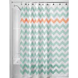 Pink and Turquoise Shower Curtain InterDesign Chevron Shower Curtain, 72 x 72-Inch, Aruba/Coral