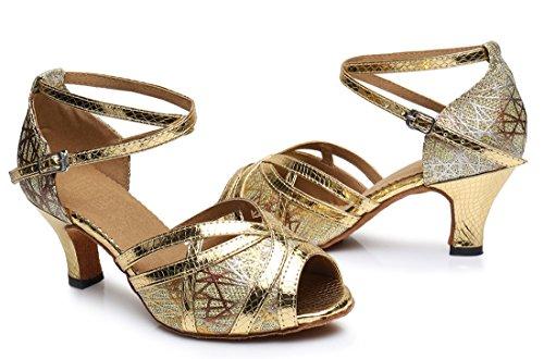 Tda Donna Formale Prom Peep Toe Glitter Sintetico Tango Sala Da Ballo Salsa Di Ballo Latino Scarpe Da Sposa 6 Cm Tacco Oro