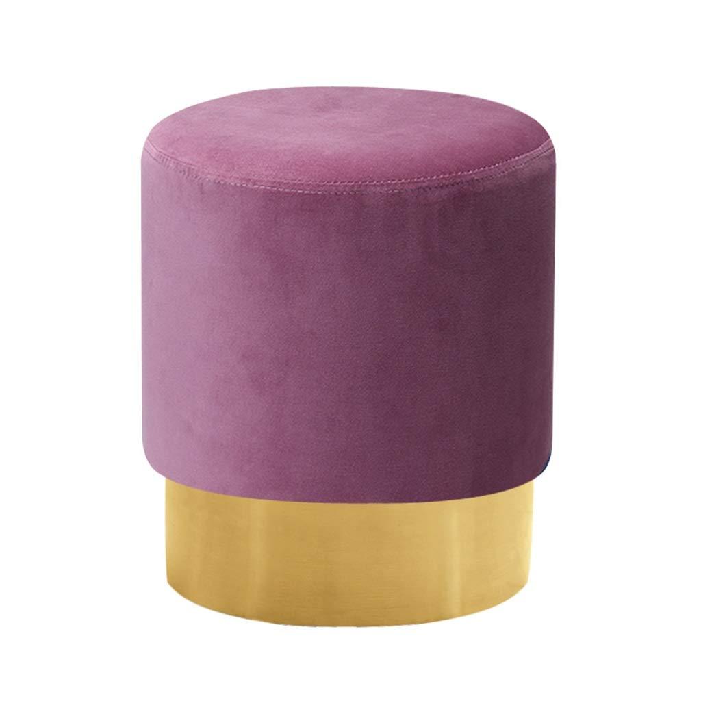 MRL-Otomanas Paño Redondo de Arte de Tela Puf otomano tapizado Taburete de Madera Maciza Taburete de escabel (púrpura) (Color : Purple)