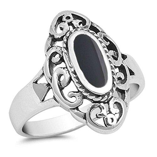 Celtic Oval Black Onyx .925 Sterling Silver Ring Size 8