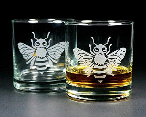 Scotch Honey (HONEY BEE Lowball Glasses set of 2 - Dishwasher-safe etched whiskey glass)