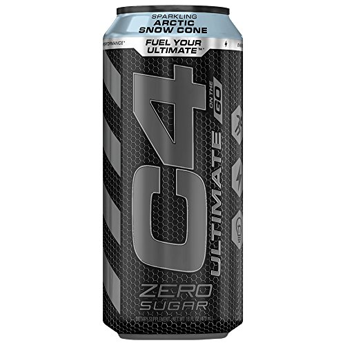 Cellucor C4 Ultimate Carbonated Zero Sugar Energy Drink, Pre Workout Drink + Beta Alanine, Sparkling Arctic Snow Cone, 16 Ounce Cans (Pack of 12)
