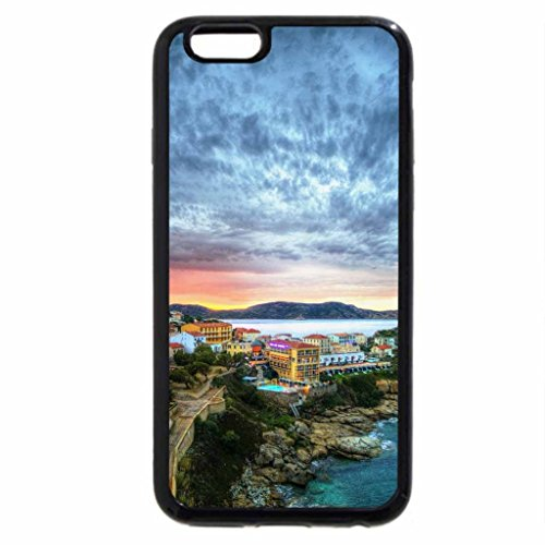 iPhone 6S / iPhone 6 Case (Black) gorgeous sky over colorful coastal town in france