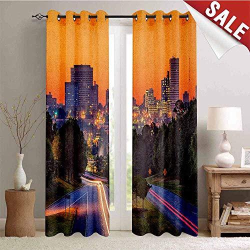 United States Backdrop Gromets Curtain Drapes for Babys Room, Skyline of Columbia City South Carolina Main Street Urban Scene Party Darkening Curtains, Orange Dark Green Blue, W96 x L72 Inches