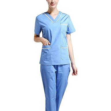 Jiyaru Uniforme Médico Ropa Enfermera de Manga Corta Ropa Quirúrgica Bata de Laboratorio Médico Sanitaria Dentista Veterinaria para Mujer Transpirable y ...
