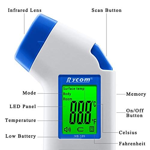 Rycom Digital Thermometer LCD Non-contact IR Temperature Gun 6 in 1 Baby Fever Medical Healthcare Infrared Forehead 100% Safe For Kids Baby Children Adults by Rycom (Image #2)