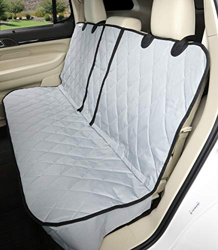 4Knines Dog Seat Cover Without Hammock for Fold Down Rear Bench Seat 60/40 Split and Middle Seat Belt Capable - Grey Extra Large - for Full Size Trucks and Large SUVs - USA Based Company