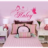 Charming Personalized Name & Butterflies Vinyl Wall Decal Sticker home Decor for girls' room -You Choose Name and Color