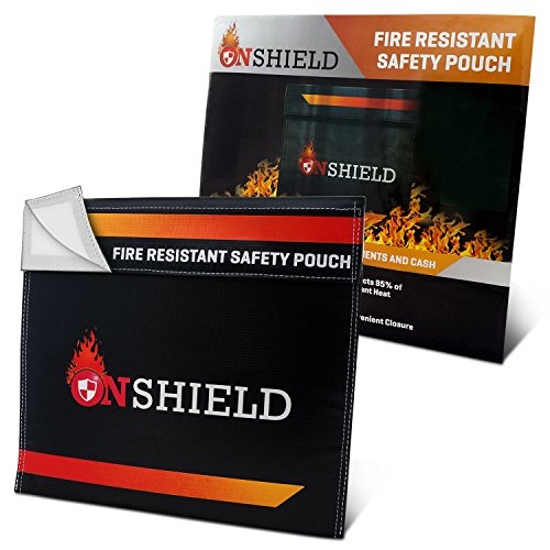 Fire Resistant Document Bag by OnShield 12'' x 11'' | Heavy Duty and Non-itchy Fireproof Document Bag | Fireproof Bag for Cash, Birth Certificate, Passport, Important - Certificate Paper Military
