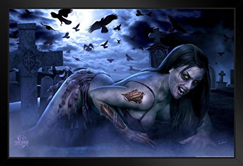 ProFrames Female Zombie Tom Wood Fantasy Art Framed Poster 12x18