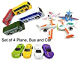 Happy GiftMart Set of 4 Plane, Bus and Cars. 12 in Total for Kids Toy