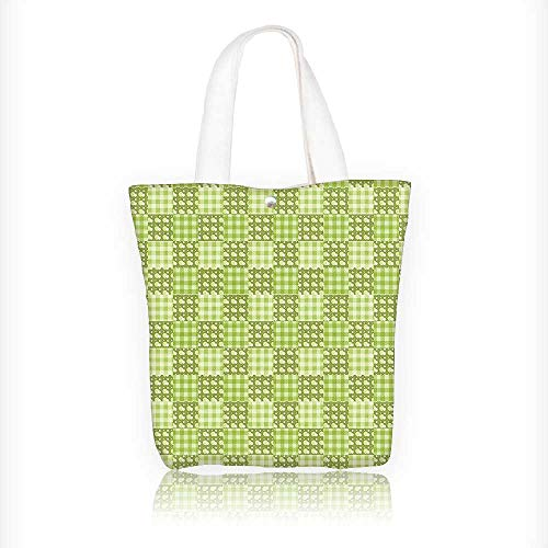 Ladies canvas tote bag Polka Dots and Checkered Textured Patchwork Simplistic Lime and Pale Green reusable shopping bag zipper handbag Print Design W11xH11xD3 INCH