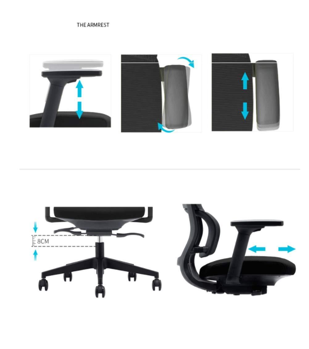 Ergonomisk kontorsstol med hög rygg med justerbart nackstöd, armstöd, säteshöjd, korsstöd och lutgrå Grå