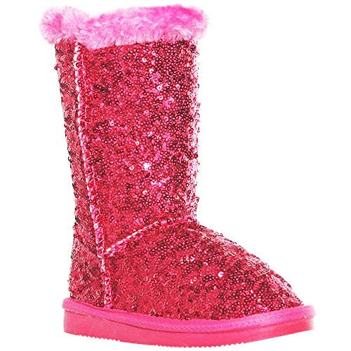 (Sequined Mid-Calf Faux Fur Snow Boots for Girls (1,)