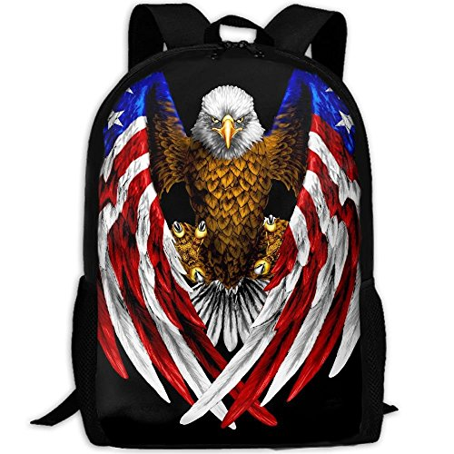 Bald Eagle Patriotic American Flag Sticker School Backpack - Unisex Student Stylish Laptop Book Bag Daypack by SAPLA