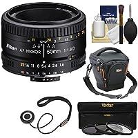 Nikon 50mm f/1.8D AF Nikkor Lens with Case + 3 Filters + Kit for D7100, D7200, D610, D750, D810 Cameras