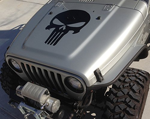 Hood decal punisher skull blackout matte black w install for Best brand of paint for kitchen cabinets with blackout window stickers