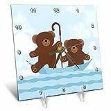 3dRose Janna Salak Designs Kids Stuff - Twin Teddy Bears Floating Umbrella - 6x6 Desk Clock (dc_261567_1)
