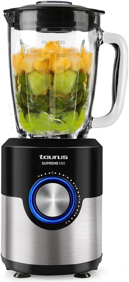 Taurus Supreme Mix - Batidora de Vaso, 1200 W y Cuchillas de Acero Inoxidable de 6 Filos, Multicolor