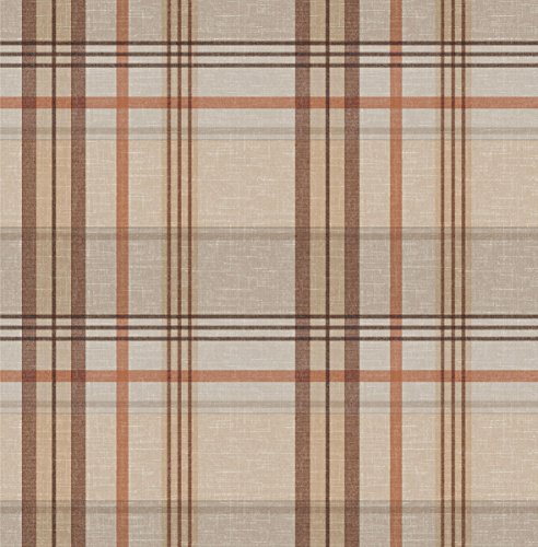 "40"" x 55"" Rectangular Burberry Brown & Beige Vinyl Tableclot"
