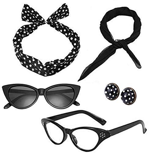Mengar Women 1950's Costume Accessories Set 50s Scarf, Glasses,Headband,Earrings