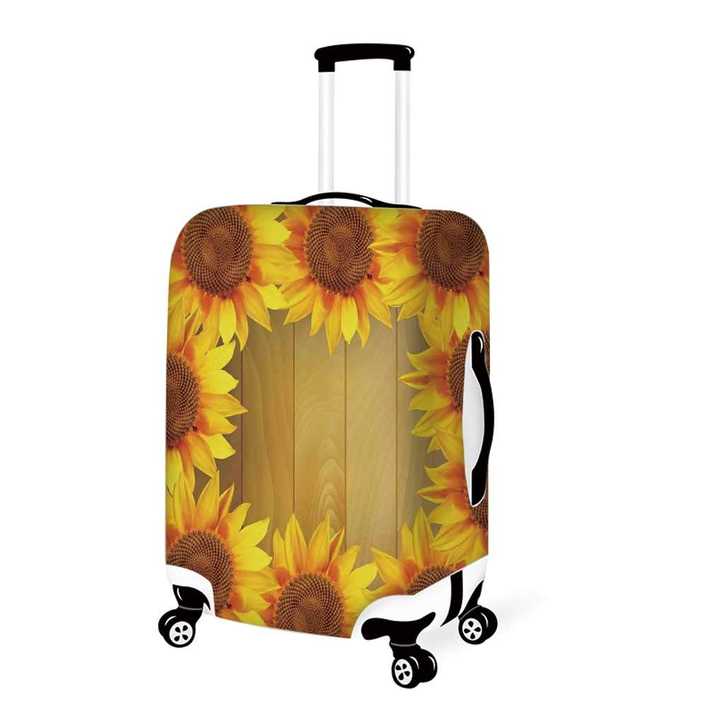 19.6W x 28.9H Sunflower Decor Stylish Luggage Cover,Helianthus Sunflowers Against Weathered Aged Fence Summer Garden Photo Print for Luggage,M