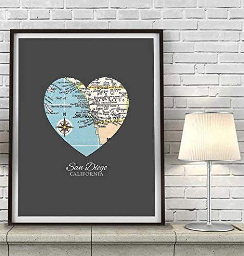 San Diego California Vintage Heart Map Art Print, UNFRAMED, Customized Colors, Wedding gift, Christmas gift, Engagement Anniversary Valentines day Housewarming Guestbook gift, ALL SIZES