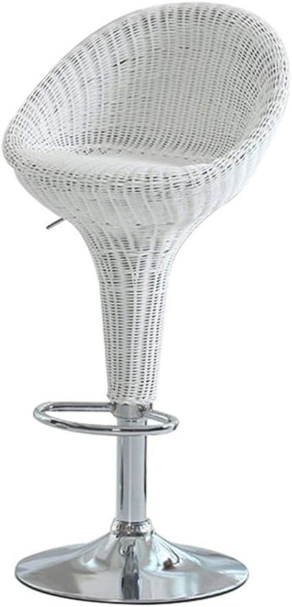 Adjustable Swivel Bar Stool Height Adjustable 60 80 Cm Rattan Seat Stool Cushion Dining Chair As Kitchen Stool White Amazon Co Uk Kitchen Home