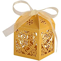 KEIVA 70 Pack Love Heart Laser Cut Wedding Party Favor Box Candy Bag Chocolate Gift Boxes Bridal Birthday Shower Bomboniere Ribbons (Gold, 70)