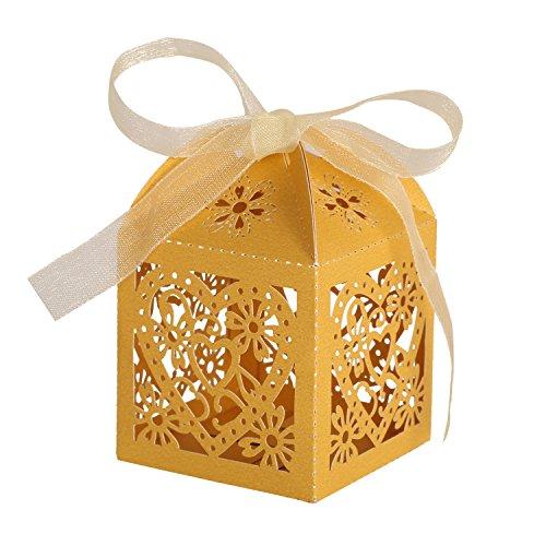 Gold Favor Boxes - KEIVA 70 Pack Love Heart Laser Cut Wedding Party Favor Box Candy Bag Chocolate Gift Boxes Bridal Birthday Shower Bomboniere Ribbons (Gold, 70)