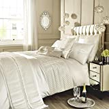 Kylie Minogue Oyster Super King Quilt Duvet Cover Pleated Diamante Bedding Bed Linen Eleanora, Cream by Kylie Minogue