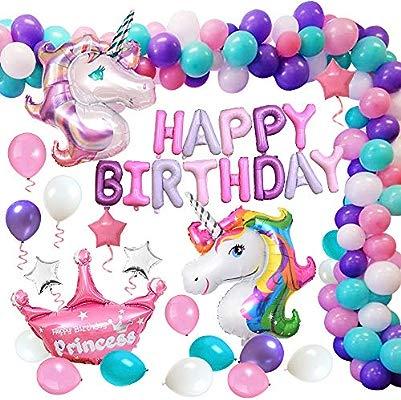 MMTX Suministros de Decoraciones de Fiesta de Unicornio, Enorme Globo de Unicornio, Feliz Cumpleaños Ballon Banner, para Niña Pequeña Fiesta de ...