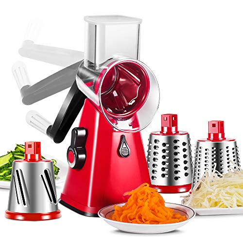 (Cheese Grater 3 in 1 Veggie Chopper Rotary Drum Grater with 3 Stainless Steel Drums Vegetable Slicer Cheese Cutter for Kitchen Masthome)