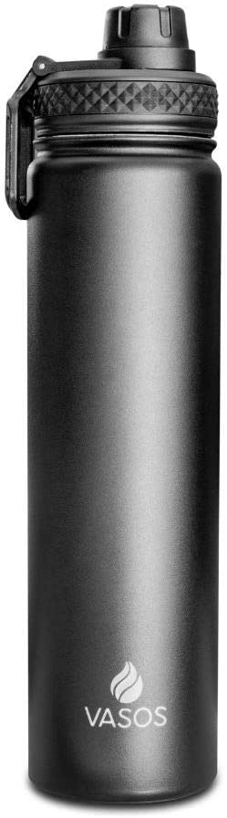 Black 24 oz Wide Mouth /& Vacuum Insulated with Leakproof Lid Vasos Stainless Steel Sports Water Bottle