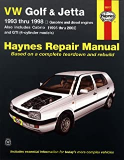 volkswagen golf jetta and cabriolet 1990 98 haynes repair rh amazon com vw golf mk3 service manual pdf vw golf 3 workshop manual