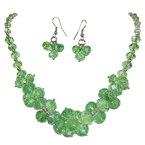 Silver Tone Statement Necklace & Dangle Earrings Set (Light Green) (Light Green Necklace)