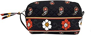 product image for Medium Cosmetic Case by Stephanie Dawn, Made in USA, Quilted Cotton Fabric, Lined Interior, Makeup Toiletry Bag (Scarlet Paisley)