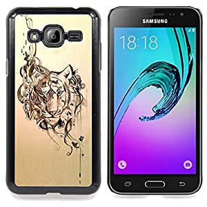 Eason Shop / Premium SLIM PC / Aliminium Casa Carcasa Funda Case Bandera Cover - Diseño floral Animal Sketch - For Samsung Galaxy J3 GSM-J300