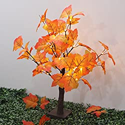 FANStek 40 LED Lighted Tabletop Fall Maple Tree Warm White LED Lights, Perfect Fall Thanksgiving Decoration,1.97ft (60 cm) …