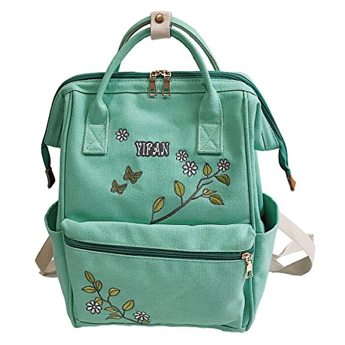 Lovely Embroidered - Hiigoo Canvas Bags Satchel Handbags Embroidered Backpacks Lovely School Bag Totes (Green)