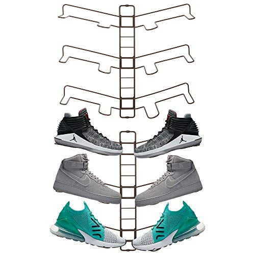 mDesign Modern Metal Shoe Organizer Display & Storage Shelf Rack - Adjustable Shelves Hang & Store Kicks, Running, Basketball, Tennis Shoes - 3 Tier, Each Wall Mount Unit Holds 6 Shoes, 2 Pack, Bronze