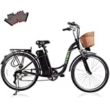 """NAKTO/SPARK 26"""" Adult Electric Bicycle for Women [ Local Service 100% Guarantee ] High-Speed Brushless Motor, V Brake, Sporting Shimano 6-Speed Gear, Removable Large Battery Charger"""