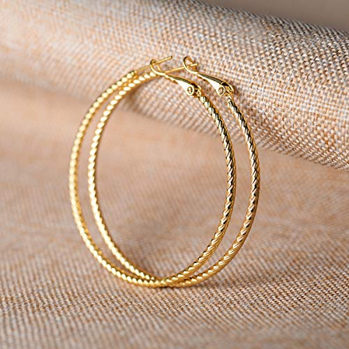 Kainier Big Hoop Earrings 14K Gold Plated 925 Sterling Silver Post Lightweight Gold Hoops for Women And Girl