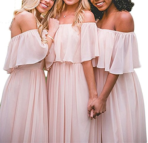 (Hatail Off Shoulder Chiffon Bridesmaid Dress Strapless A-Line Evening Gown Long Dark Red Customize)