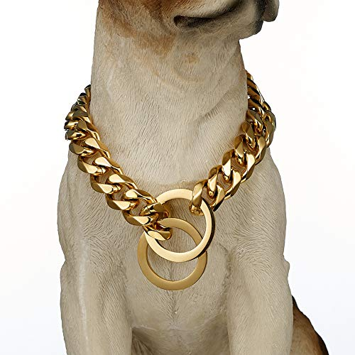 """(Chain Collar Dogs Slip Choker Stainless Steel 15mm Silver Gold Plated Cuban Link Pet Necklace Medium Large Breeds Pitbulls 18""""-24"""" (18 Inches, Gold))"""