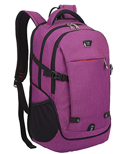 FREEMASTER Laptop Bag Backpack 15.6 17 Inch For Women and Men Notebook MacBook Chromebooks Waterproof Rucksack Black Gray 45*27*15 CM (Purple)