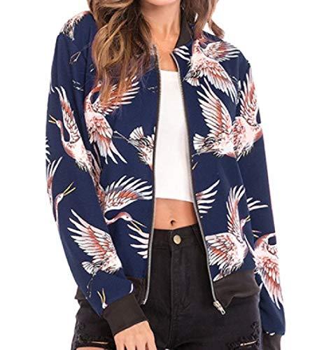 Jacket Casual Slim Varsity Print 3 Long Crane MogogoWomen Sleeve zCvqf